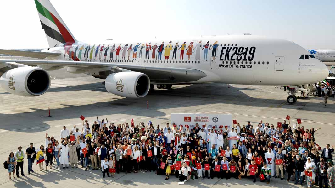 the most nationalities on an aircraft achieved by emirates airlines