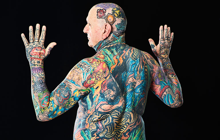 Most tattooed senior citizen (male)